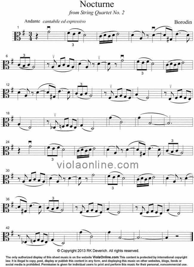 viola online free viola sheet music nocturne from borodin s
