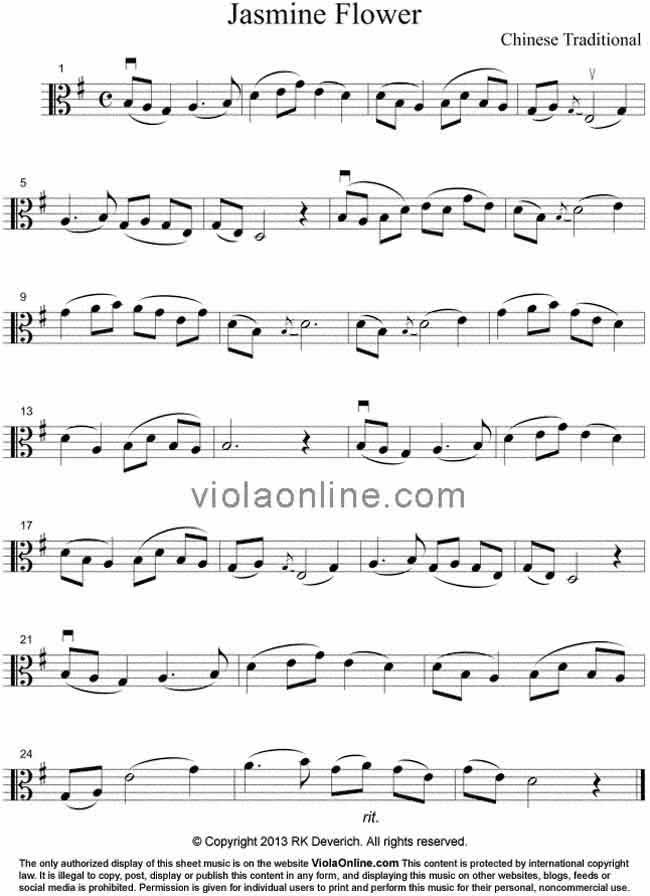 All Music Chords sheet music to print : Viola Online Free Viola Sheet Music - Jasmine Flower - Chinese ...